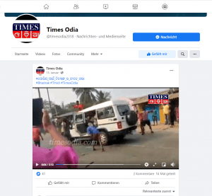 Still from footage shared by news outlet Times Odia on 13 January 2021